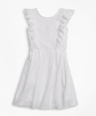 Brooks Brothers Girls Sleeveless Cotton Eyelet Dress