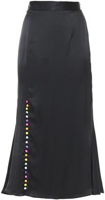 Olivia Rubin Hanna Fluted Button-detailed Silk-satin Midi Skirt