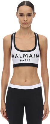 Balmain Logo Print Lycra Sports Bra