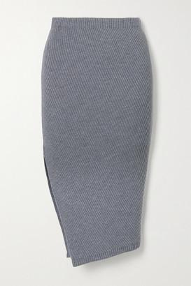 Theory Asymmetric Ribbed Wool-blend Skirt - Gray