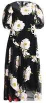 Simone Rocha Asymmetric Embroidered Cotton-Blend Tulle Midi Dress