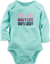 Carter's Long-Sleeve Mint Cute Slogan Bodysuit - Baby Girls newborn-24m