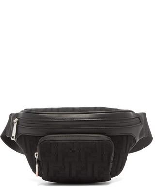 Fendi Logo-jacquard Leather-trimmed Mesh Belt Bag - Black