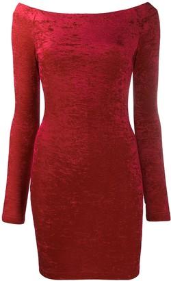 Balenciaga Red Crushed Velvet Cycling Mini Dress
