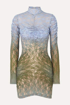 House of Holland Ruched Degrade Lace Mini Dress - Army green