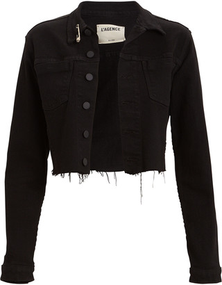 L'Agence Aria Safety Pin Denim Jacket