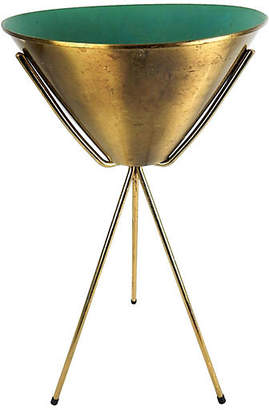 One Kings Lane Vintage Mid-Century Brass Bullet Planter - Acquisitions Gallerie