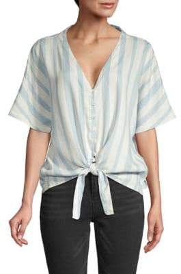 Jak & Rae Annabelle Striped Knotted Button-Down Shirt