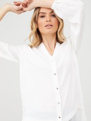 Wallis Washed Chiffon Mix Longline Shirt - Ivory