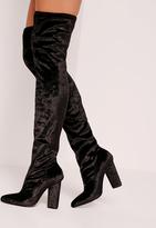 Missguided Velvet Over The Knee Boots Black