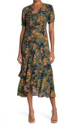 Nanette Lepore Floral Puff Sleeve Wrap Dress