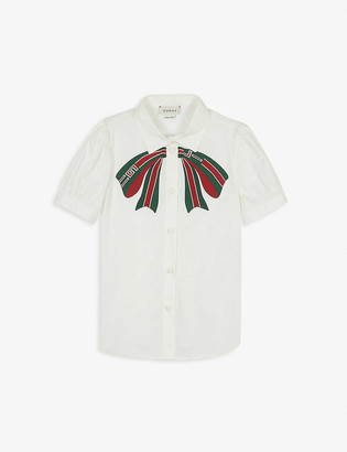 Gucci Embroidered bow cotton shirt 4-12 years