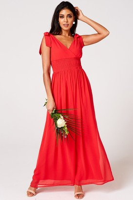 N. Rock Roll Bride Aries Fiery Coral Plunge Maxi Dress