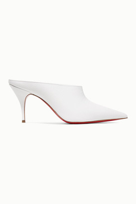 Christian Louboutin Quart 80 Lizard-effect Leather Mules - White