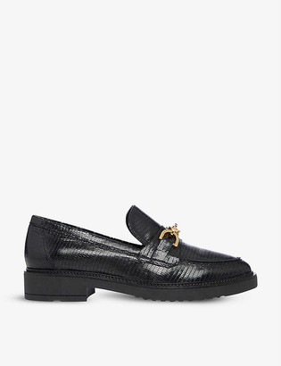 Dune Gisella chain-trimmed leather loafers