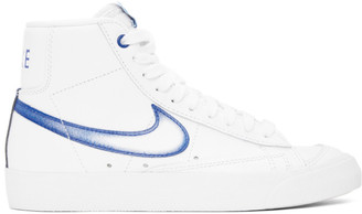 Nike White and Blue Blazer Mid 77 Sneakers