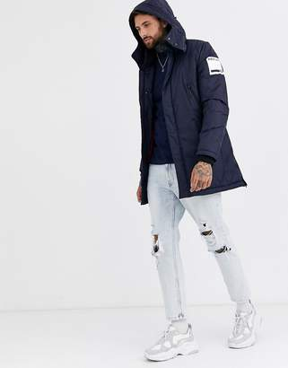 Replay logo parker jacket with concealable hood in navy