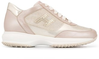 Hogan Round Toe Metallic-Sheen Sneakers