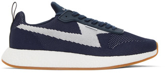 Paul Smith Navy and White Knit Zeus Sneakers