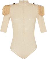 Nina Ricci Lace Bodysuit With Shoulder Pads