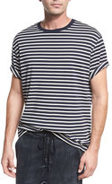 Vince Breton-Striped Crewneck T-Shirt, Coastal Blue/Off White