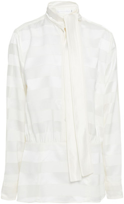Victoria Victoria Beckham Pussy-bow Gathered Satin-jacquard Blouse