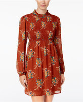 As U Wish Juniors' Printed Smocked Peasant Dress