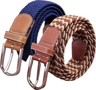 Szjh Set of 2 Womens Belt Casual Braided Elastic Fabric Woven Stretch Elasticated Belts