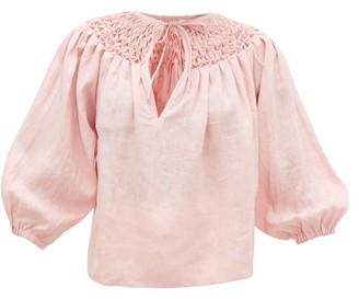 Innika Choo Hope Filthorts Smocked Linen-chambray Blouse - Womens - Light Pink