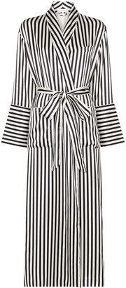 Olivia von Halle Capability long striped silk dressing robe