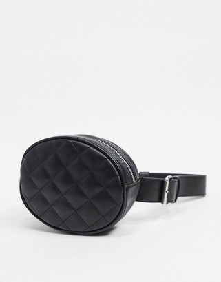 Monki faux leather quilted fanny pack in black