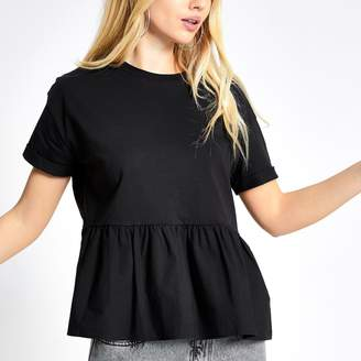 River Island Womens Black short sleeve peplum smock T-shirt