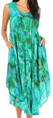 Sakkas 16801 - Laeila Tie Dye Washed Tall Long Sleeveless Tank Top Caftan Dress/Cover Up - Fuchsia - OS