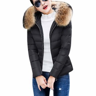Hansee Hot Sale! Womens Ladies Solid Quilted Winter Coat Fur Collar Hooded Slim Fit Jacket Parka Outerwear(Black M)