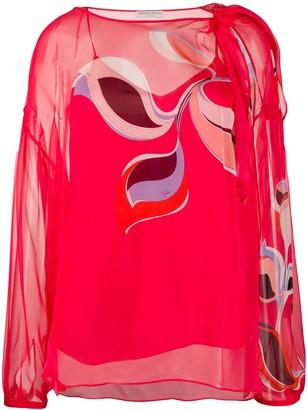 Emilio Pucci Graphic Print Translucid Silk Blouse