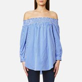 Polo Ralph Lauren Women's Long Sleeve Off The Shoulder Shirt Blue/White