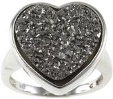 Ice Bliss Collection Heart-Shaped Grey Drusy Agate Sterling Silver Ring