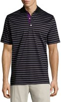 Peter Millar Striped Cotton Polo Shirt, Black/Multi