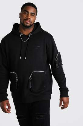 BoohoomanBoohooMAN Mens Black Big & Tall MAN Official Pocket Hoodie, Black