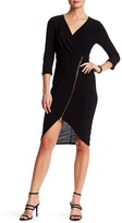 Just For Wraps Surplice Asymmetric Zip Midi Dress