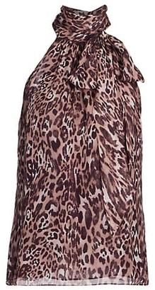 Ramy Brook Leopard Silk Halter Top