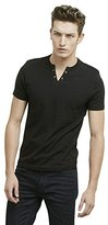 Kenneth Cole Reaction Men's Short Sleeve Eyelet Henley Shirt