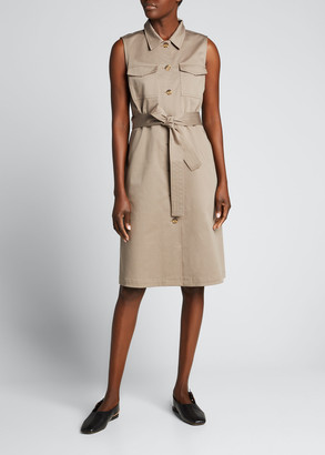 Lafayette 148 New York Sonny Sleeveless Tie-Waist Shirtdress
