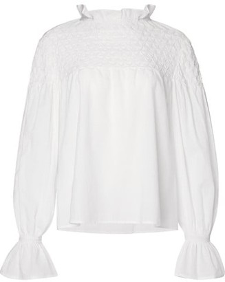 Merlette New York Majorelle Hand-Smocked Cotton Blouse