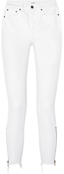 GRLFRND Kendall Distressed High-rise Skinny Jeans - White