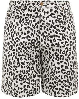 Noon Goons Leopard-print Denim Shorts - Mens - Black White