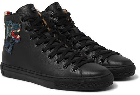 Gucci Major Wolf-Appliquéd Full-Grain Leather High-Top Sneakers