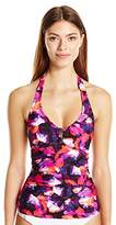 Calvin Klein Women's Lapis Lazuli Printed Bar Halter Tankini with Removable Soft Cups