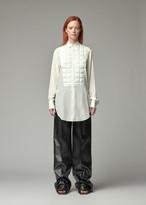 Bottega Veneta Women's Front Quilted Long Shirt in Off White Size 36