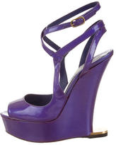 Moschino Patent Leather Wedge Sandals